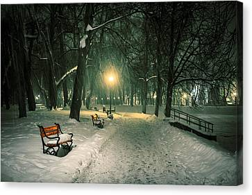 Red Bench In The Park Canvas Print by Jaroslaw Grudzinski