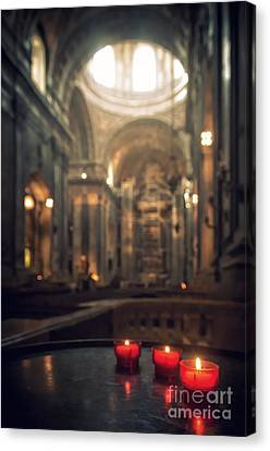 Medieval Temple Canvas Print - Red Candles by Carlos Caetano