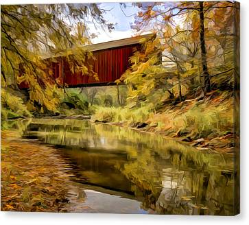 Red Covered Bridge Canvas Print by Jeff Burton