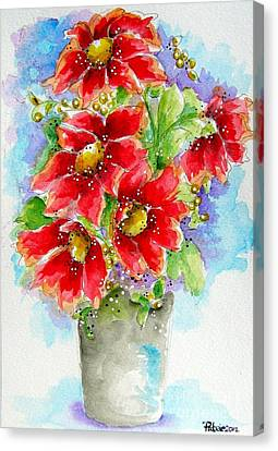 Canvas Print featuring the painting Red Flowers by Patrice Torrillo