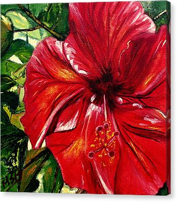Red Hibiscus Canvas Print by Maria Soto Robbins