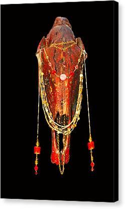 Michael Canvas Print - Red Illuminating Horse Skull  by Mayhem Mediums