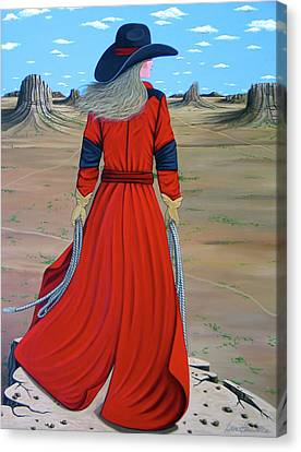 Contemporary Cowgirl Canvas Print - Red by Lance Headlee