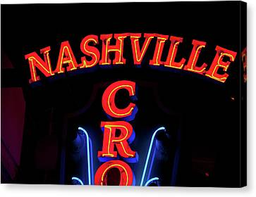Red Neon Sign Nashville Crossroads Canvas Print