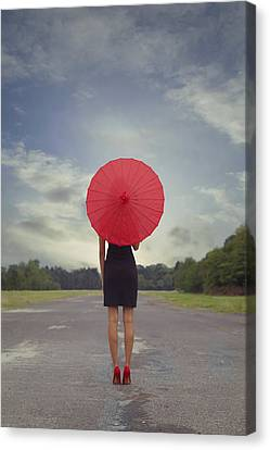 Gown Canvas Print - Red Parasol by Joana Kruse