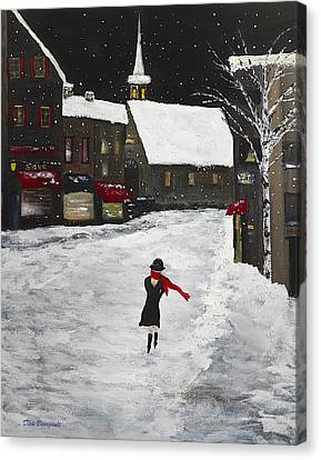 Red Scarf Winter Scene Canvas Print