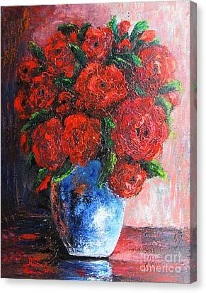Canvas Print featuring the painting Red Scent by Vesna Martinjak