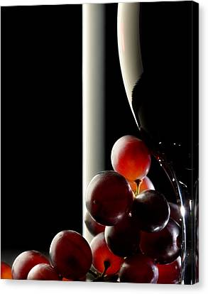 Red Wine With Grapes Canvas Print by Johan Swanepoel