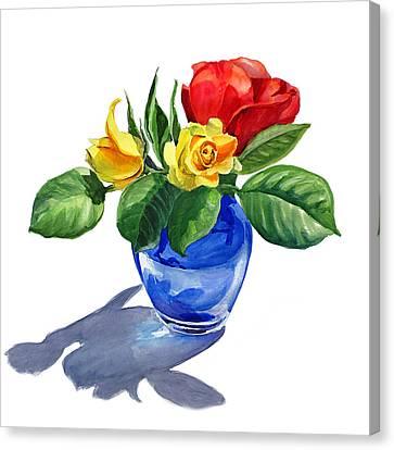 Red Yellow And Blue Canvas Print by Irina Sztukowski