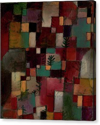 Redgreen And Violet-yellow Rhythms Canvas Print by Paul Klee