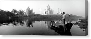 Reflection Of A Mausoleum In A River Canvas Print by Panoramic Images