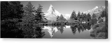 Reflection Of Trees And Mountain Canvas Print