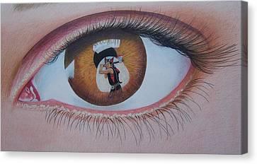 Reflections In A Golden Eye Canvas Print by Constance DRESCHER