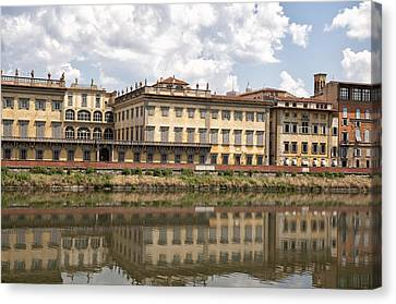 Reflections In The Arno River Canvas Print by Melany Sarafis