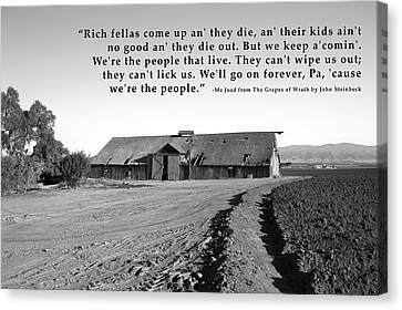 Field Of Crops Canvas Print - Remnants Of The Grapes Of Wrath John Steinbeck Quote by Barbara Snyder