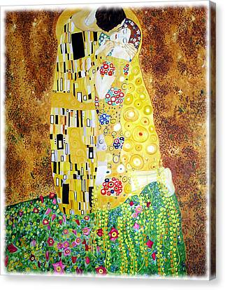 Reproduction Of - The Kiss By Gustav Klimt Canvas Print by Ze  Di