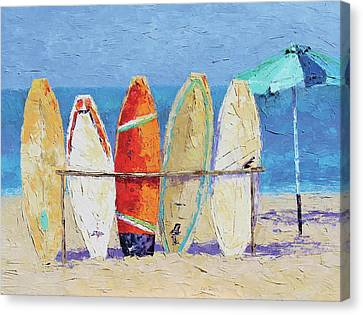 Resting On The Beach Canvas Print by Leslie Saeta