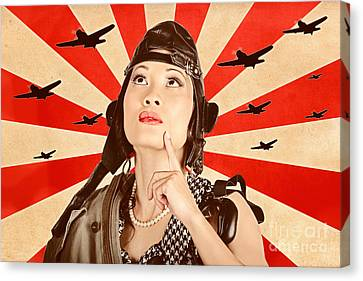 Retro Asian Pinup Girl. War Planes Of Revolution Canvas Print by Jorgo Photography - Wall Art Gallery