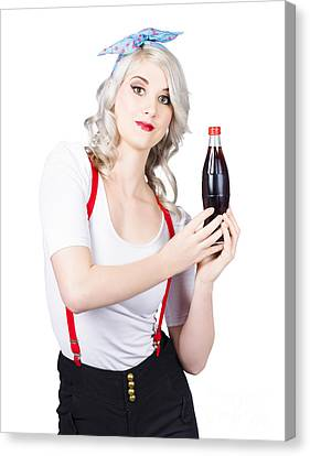 Vintage Soda Bottles Canvas Print - Retro Blond Woman With A Bottle Of Soda by Jorgo Photography - Wall Art Gallery