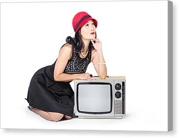 Tv Set Canvas Print - Retro Fashion Communication. Girl On Television by Jorgo Photography - Wall Art Gallery