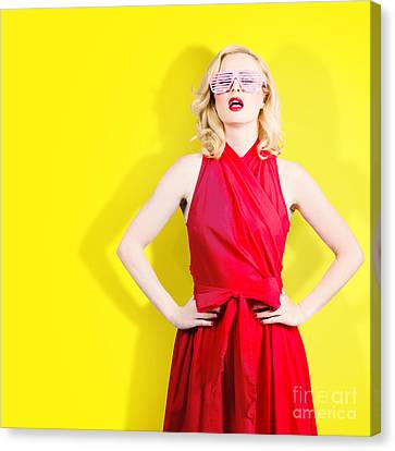 Retro Fashion Model Girl In Bright Summer Glasses Canvas Print by Jorgo Photography - Wall Art Gallery