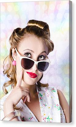 Retro Glam Model On Colourful Disco Dots Canvas Print by Jorgo Photography - Wall Art Gallery