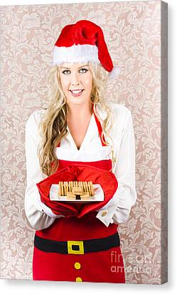 Retro Housewife Baking Christmas Cookies Canvas Print by Jorgo Photography - Wall Art Gallery