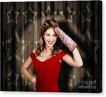 Retro Housewife Cook Giving 5 Star Food Service Canvas Print by Jorgo Photography - Wall Art Gallery
