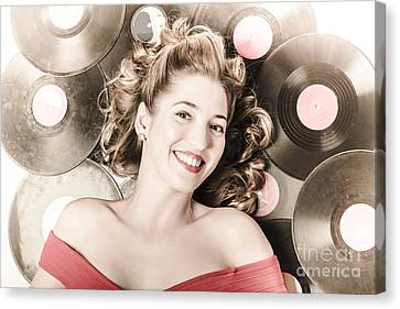 Retro Pin-up Woman With Rocking Hairstyle Canvas Print by Jorgo Photography - Wall Art Gallery