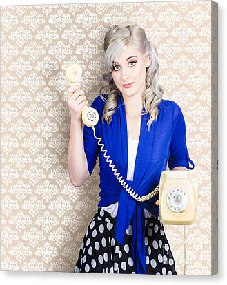 Retro Portrait Of A Woman Talking On Vintage Phone Canvas Print by Jorgo Photography - Wall Art Gallery