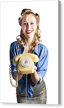 Youthful Canvas Print - Retro Receptionist by Jorgo Photography - Wall Art Gallery