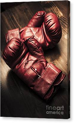 Boxer Canvas Print - Retro Red Boxing Gloves On Wooden Training Bench by Jorgo Photography - Wall Art Gallery
