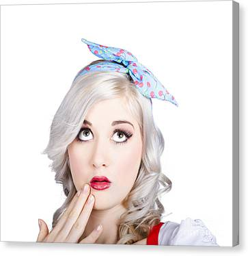 Retro Style Portrait Of A Blond Girl With A Bow Canvas Print