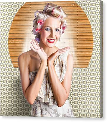 Retro Woman At Beauty Salon Getting New Hair Style Canvas Print by Jorgo Photography - Wall Art Gallery