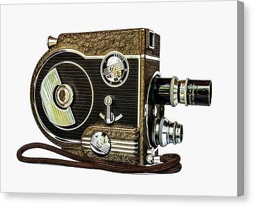 1950s Movies Canvas Print - Revere 8 Movie Camera by Jon Woodhams
