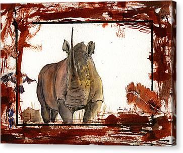 Rhino Canvas Print by Juan  Bosco