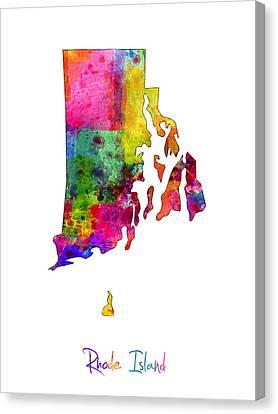 Rhode Island Watercolor Map Canvas Print by Michael Tompsett