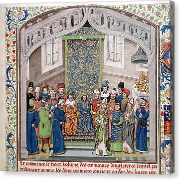 Richard II Holding A Court Canvas Print by British Library