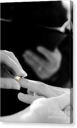 Rings Being Exchanged By A Bride And Groom Canvas Print by Jorgo Photography - Wall Art Gallery