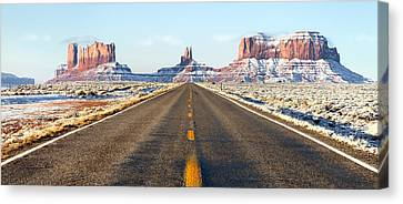 Road Lead Into Monument Valley Canvas Print by King Wu