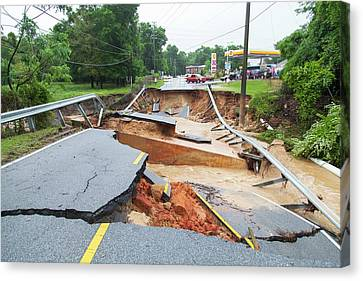 Road Washed Out By Flooding Canvas Print