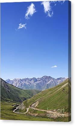 Kyrgyzstan Canvas Print - Road Winding Through Mountainous Central Kyrgyzstan by Robert Preston