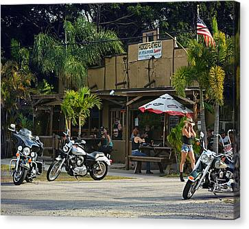 Picnic Table Canvas Print - Roadhouse by Laura Fasulo