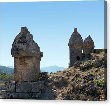 Rock Cut Tombs At Tlos Canvas Print by David Parker