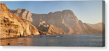 Rock Formations At Coast, El Dedo De Canvas Print by Panoramic Images