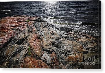 Rock Formations At Georgian Bay Canvas Print by Elena Elisseeva
