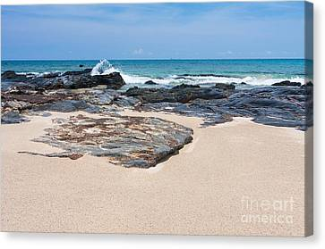 Rock Sand Sea And Sky Canvas Print by Atiketta Sangasaeng