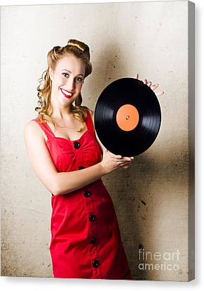 Disc Canvas Print - Rockabilly Music Girl Holding Vinyl Record Lp by Jorgo Photography - Wall Art Gallery