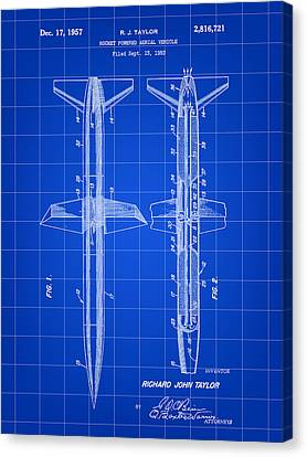 Jet-propelled Canvas Print - Rocket Patent 1953 - Blue by Stephen Younts
