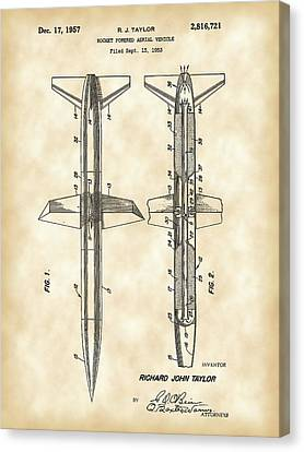 Jet-propelled Canvas Print - Rocket Patent 1953 - Vintage by Stephen Younts